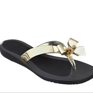 Guess Gold with Rhinestone Flat Sandals 7M